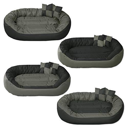 BedDog Hundebett Sunny 4in1 / großes Hundekörbchen aus Cordura/waschbares Hundebett mit Rand/Hundekissen oval-rund/für drinnen und draußen/XXL/Rock-Flow/grau-anthrazit