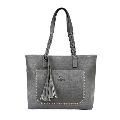 Handtasche Umhängetaschen Damenhandtaschen für damen,YULAND Damen ist leder quasten handtasche schulter beutel damen rucksack tragen taschen (Grau) (Millennium-leder-handtasche)