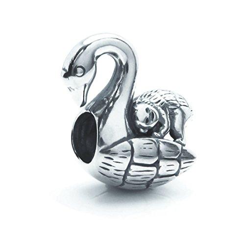 Antik 925Sterling Silber Monkey Swan Bird Ride Perle für europäische Charm-Armbänder