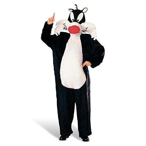 Looney Tunes - Kater Sylvester Cartoon Kostüm, Overall mit Kopfbedeckung für Erwachsene (Disco Duck Kostüme)