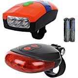 Dark Horse Bicycle 3 LED 3 Mode Front Light & Horn & 2 Laser Beams Tail Light Combo