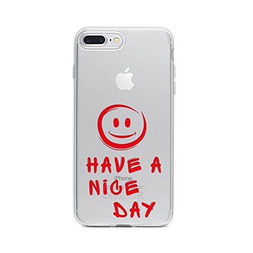 licaso Apple iPhone 8 Plus Handyhülle Smartphone Apple Case aus TPU mit Have A Nice Day Smiley Print Motiv Slim Design Transparent Cover Schutz Hülle Protector Soft Aufdruck Lustig Funny Druck