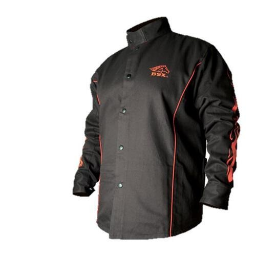 Preisvergleich Produktbild BSX Flame-Resistant Welding Jacket - Black with Red Flames, Size 2X-Large by Revco