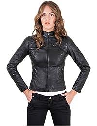 D'Arienzo - GENY • colore nero • giacca biker in pelle trapuntata nappa effetto liscio