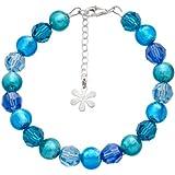 Valentina Genuine Murano Glass Aqua Bead Bracelet of 19.5cm