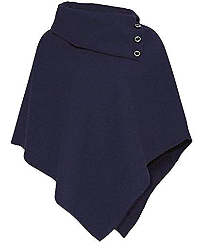 Friendz Trendz-Womens Ladies Loose 3 Buttons Collo con collo a scialle con cardigan e poncho Navy