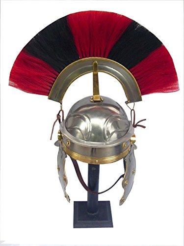 Römische Französische Helm (Ohr zu Ohr Rot und Schwarz Plume) Reenactment/Larp/Rollenspiel - Reenactment Römischen Kostüm