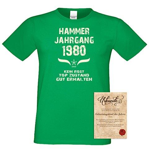 Geschenk Set : Geschenkidee Papa Vater 37. Geburtstag ::: Hammer Jahrgang 1980 ::: Herren T-Shirt Geburtstagsgeschenk für Männer ::: Farbe: schwarz Hellgrün