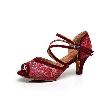 XIAMUO Anpassbare Damen Tanz Schuhe Spitze Spitze Latin/Salsa Dance Sneakers/Sandalen Stiletto HeelBeginner/Professional Schwarz