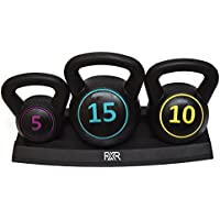 FXR Sports Set Of 3 Kettlebells (5lbs, 10lbs & 15lbs) With Stand & Free A3 Workout Poster