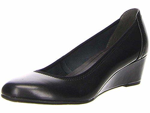 Tamaris 22320-28 001 Damen Keilpumps aus Glattleder Laufsohle mit 40-mm-Absatz, Groesse 36, schwarz