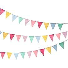 Shappy 18 Banderas de Arpillera de Imitación, Banderines Banderas de Triángulo Multicolor para Decoración Colgante