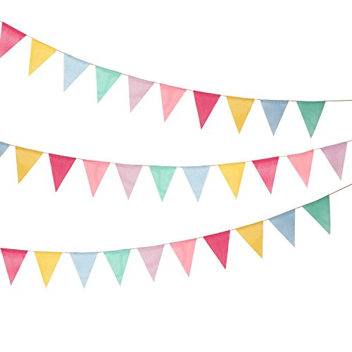 Burlap Wimpel Banner, Multicolor Stoff Dreieck Flagge Bunting für Party Hanging Dekoration (Bunting Flags)
