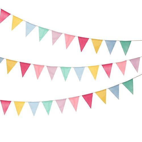 Shappy 18 Flaggen Nachgeahmt Sackleinen Wimpel Banner, Mehrfarbig Stoff Dreieck Flagge Bunting für Party Hängende Dekoration