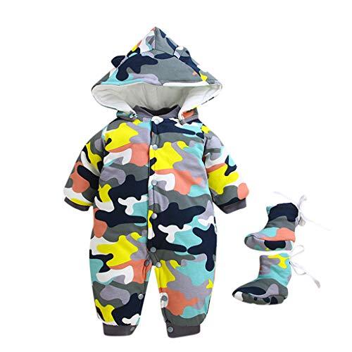 WFRAU Baby Fleece-Overall, atmungsaktiver Unisex-Jumpsuit für Jungen und Mädchen mit langem Reißverschluss und Kapuze, farbig abgesetzt