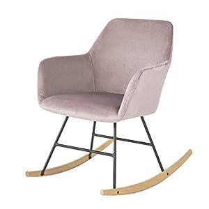 SoBuy FST68-P Schaukelsessel Schaukelstuhl Relax Stuhl Sessel aus Samt und Buche Pink Belastbarkeit: 150kg