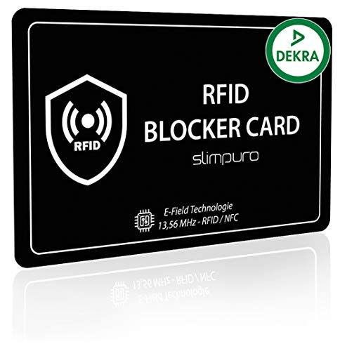RFID Blocker Karte DEKRA Getestet - Störsender Technologie - NFC Schutzkarte - zum Schutz vor Datendiebstahl - extra dünne Karte mit 0,8mm geeignet für Jede Geldbörse - Kartenschutz | NFC Schutz