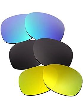 Hkuco Mens Replacement Lenses For Ray-Ban Wayfarer RB2132 55mm Blue/Black/24K Gold Sunglasses