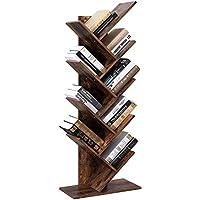 Vordern Tree Bookshelf, 8-Tier Floor Standing Bookcase, with Wooden Shelves for Living Room, Home Office Furniture (Rustic Brown)