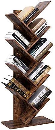 Vordern Tree Bookshelf, 8-Tier Floor Standing Bookcase, with Wooden Shelves for Living Room, Home Office Furni