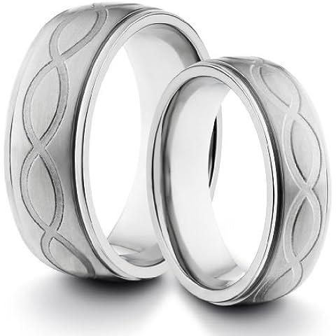 Y Su de 8mm/6mm Titanio Comfort Fit boda banda anillo Set w/acabado mate & Laser grabado diseño infinity (tamaños disponibles Tallas 4–14, incluyendo la mitad)