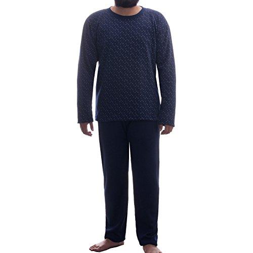 Lucky Herren Thermo Pyjama Rundhals angerauht mit Paisely Muster Schlafanzug Winter, Farbe:Navy;Größe:M