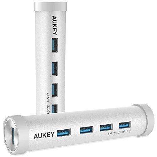AUKEY USB C Hub auf USB 3.0 * 4 Port Aluminum Netzwerkadapter für Geräte mit Type C Buchse wie New Macbook, Macbook Pro 2016, Google ChromeBook Pixel 2015 usw.