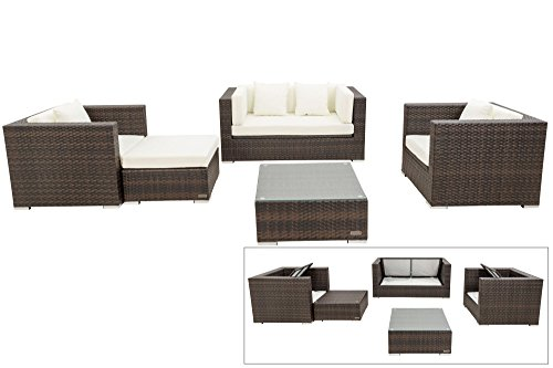 OUTFLEXX Exklusives Lounge-Set aus Poly-Rattan in braun marmoriert, 2-Sitzersofa, 2 Sessel, 1 Hocker...