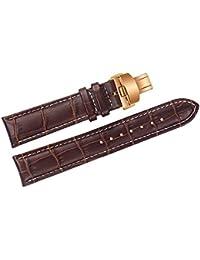 24 mm correas de relojes de lujo de cuero marrón de reemplazo / bandas hechas a mano con costuras en contraste blanco para las marcas de gama alta suizos con cierre desplegable de oro rosa