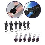 Lanyifang 6 Stück Universal-Instant Fix Design Reißverschluss Zipper Fix Reparatur Reißverschluss Reparieren Schwarz