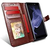 HOM Wallet Flip Case Cover Inside Soft Back Cover TPU with Card Holders [Photo/Credit Cards], Magnetic Closure, Stand View for Micromax Bharat 5 Infinity Edition Q4204 Brown