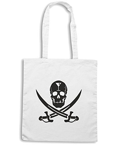T-Shirtshock - Borsa Shopping BEER0257 Martini Jolly Roger Bianco