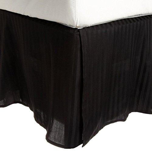 Superior - Bettschürzenstreifen aus Baumwolle, 198 x 203 x 38 cm, Fadenzahl 300, schwarz -