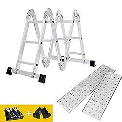 DripexTool Multi-Purpose Aluminium Ladder with 2 Anti-Slip Scaffold Plates 150 kg Load Capacity EN 131