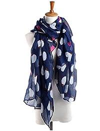 TOOGOO(R) Women Hedgehog Printing Voile Scarf Wraps Shawl Headscarf Navy