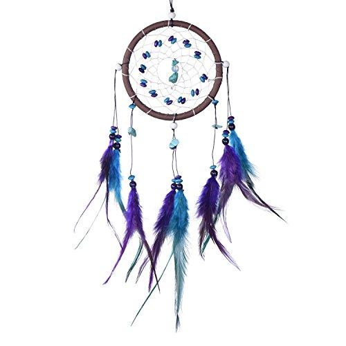 Atrapasueños Dreamcatcher para sueños buenos con perlas y plumas naturales Marrón - Ø 11 cm
