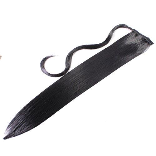 Pferdeschwanz, 60cm, 100g, glatt - #N-1 Schwarz - Haarteil Optisch wie Echthaar Extensions