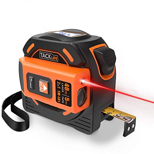 Cinta Métrica Laser, TACKLIFE-TM-L01-2 en 1 Combinación de Cinta Métrica (5m x 19mm) y Metro Láser (40m), Medición continua, Alta...