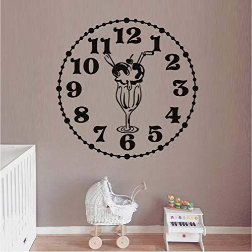 Design kreative lebensmittel wandaufkleber küche zimmer dekoration uhr mit eis diy vinyl wandaufkleber home abziehbilder kunst 59 * 59 cm - Uhr Lebensmittel