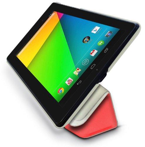 LuvTab Google Nexus 7 (2) 2013 Slim 'Frameless' Tasche Case Hülle (7 Zoll), Sleep Sensor, Mit Aufsteller Funktion (Rot)