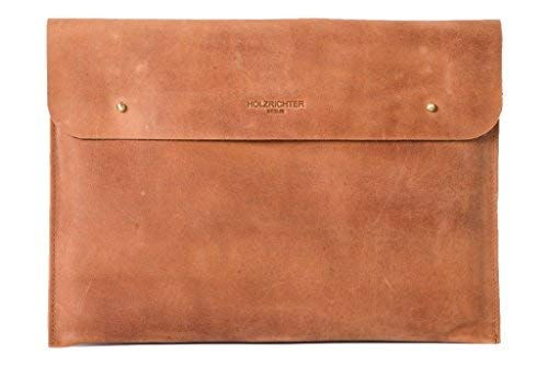 "HOLZRICHTER Berlin Laptop 13"" Sleeve - Premium Hülle aus Leder – Ledertasche für Notebook Apple MacBook 13"
