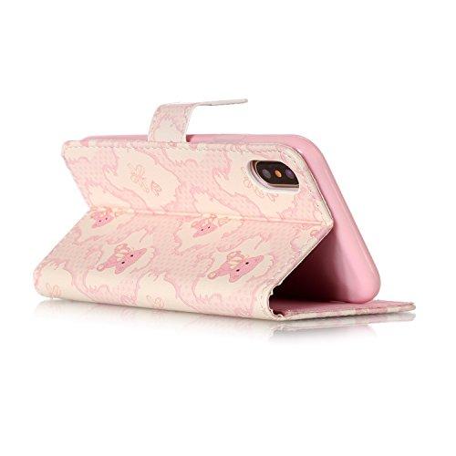 Apple iPhone 7/iPhone 8 4.7 hülle, Voguecase Kunstleder Tasche PU Schutzhülle Tasche Leder Brieftasche Hülle Case Cover (Bunt Herzen 03) + Gratis Universal Eingabestift Pink Bär 01