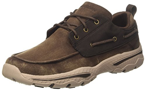 Skechers Herren Creston - Vosen Sneaker, Braun (Chocolate), 39.5 EU Casual Moc Toe Oxford