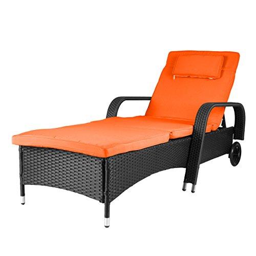 Nexos Rattanliege mit Auflage orange Poly Rattan Gartenliege Sonnenliege Liegestuhl Liege