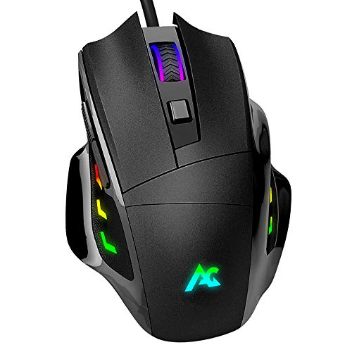 ACGAM Verdrahtete Gaming-Maus mit RGB-Hintergrundbeleuchtung, G402 OMRON Gaming Switch-Maus PMW3325 Sensor 10000DPI PC-Gaming-Mäuse für Pro-Gamer, Windows/MacBook/Laptop/PC usw. - Schwarz -