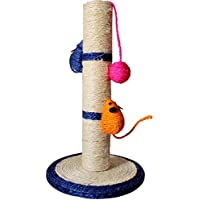 Cat Scratching Post Pole Con Dos Mouse Y Cricking Ball Sisal Blue
