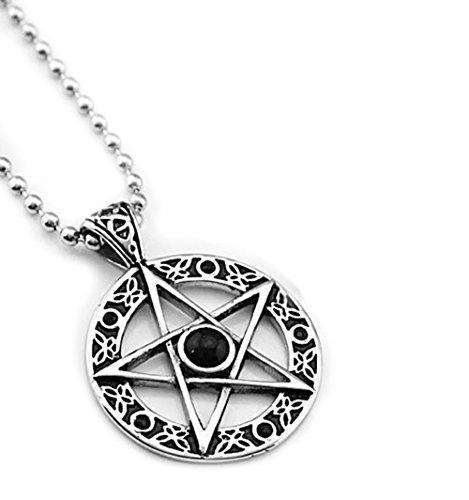 Gudeke Collar colgante amuleto de protección de acero de titanio Pentagram del pentáculo de la estrella