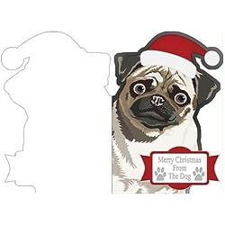 Feliz Navidad desde el perro carlino corte 'n 'fold tarjeta por Jennie Le Guen