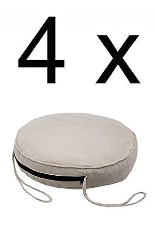 4x Mediterranes Stuhlkissen Stuhlauflage Softkissen Alejandro rund - 45cm 4er SET