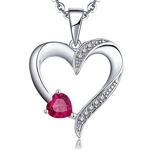 YL Halskette Damen Silber 925 Anhänger Herz mit 5MM * 5MM AAA Herz Rubin/Zirkonia Kette für Frauen und Mädchen, 45-50 cm
